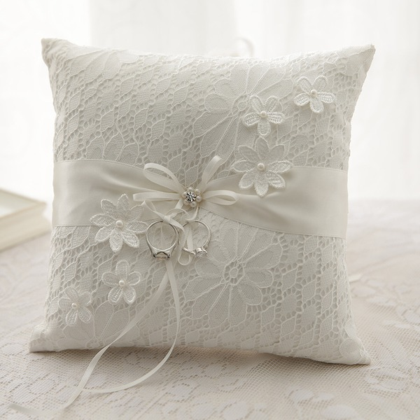 Classic Ring Pillow in Cloth With Bow/Flowers/Lace