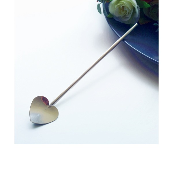 """Tea Time""/Classic/Lovely Heart Shaped Stainless Steel Tea Party Favors/Stirrers (Set of 2)"