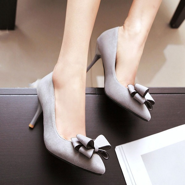 Women's Suede Stiletto Heel Pumps With Bowknot