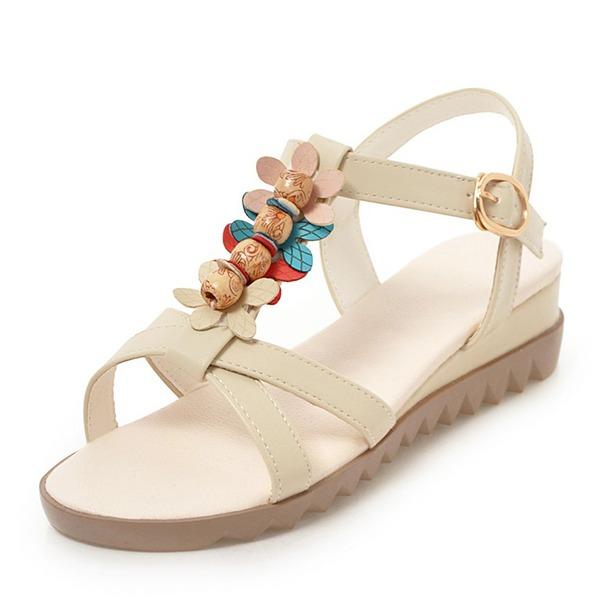 Donna Similpelle Zeppe Sandalo Zeppe Punta aperta Con cinturino con Bowknot Perline Fiore scarpe
