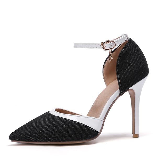 Vrouwen Kunstleer Jean Stiletto Heel Sandalen Pumps Closed Toe schoenen