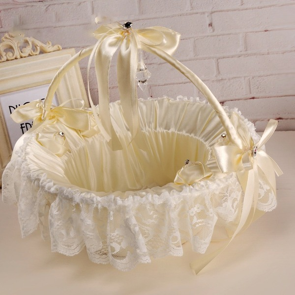 Flower Basket in Cloth With Ribbons/Lace