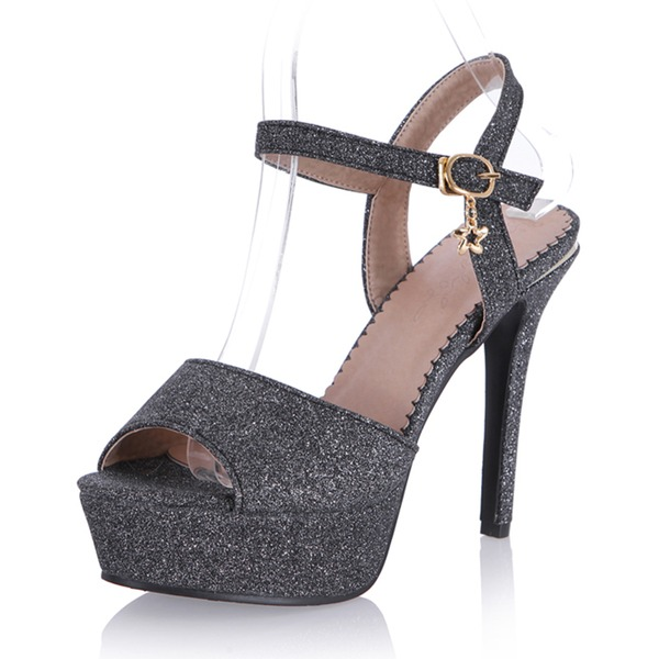 Vrouwen Sprankelende Glitter Stiletto Heel Sandalen Pumps Plateau Peep Toe Slingbacks met Gesp schoenen