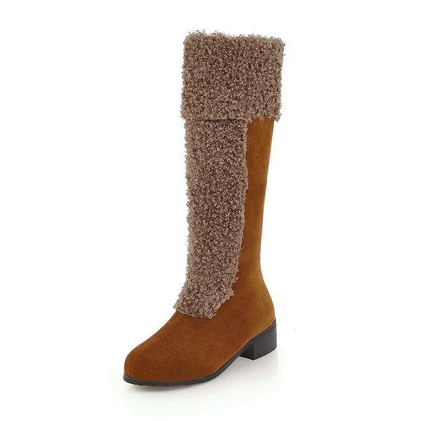 Kvinner Semsket Lav Hæl Støvler Knehøye Støvler med Delt Bindeled sko