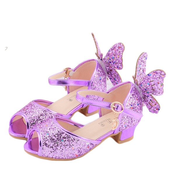 Girl's Peep Toe Leatherette Low Heel Sandals Flower Girl Shoes With Buckle