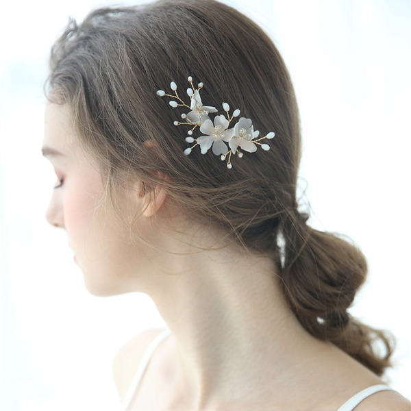 Ladies Glamourous Crystal/Beads/Voile Hairpins Crystal (Sold in single piece)