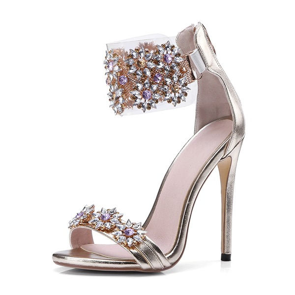 Women's Leatherette Spool Heel Peep Toe Pumps Sandals With Crystal