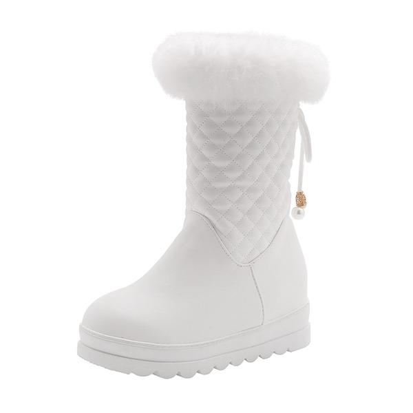 Naisten Keinonahasta Matala heel Suljettu toe Kengät Mid-calf saappaat Lumi saappaat jossa Jäljitelmä Helmi Nauhakenkä Turkis kengät