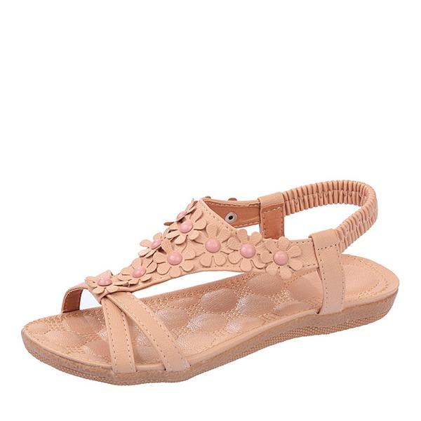Donna Similpelle Senza tacco Sandalo Ballerine Punta aperta Con cinturino con Fascia di gomma scarpe