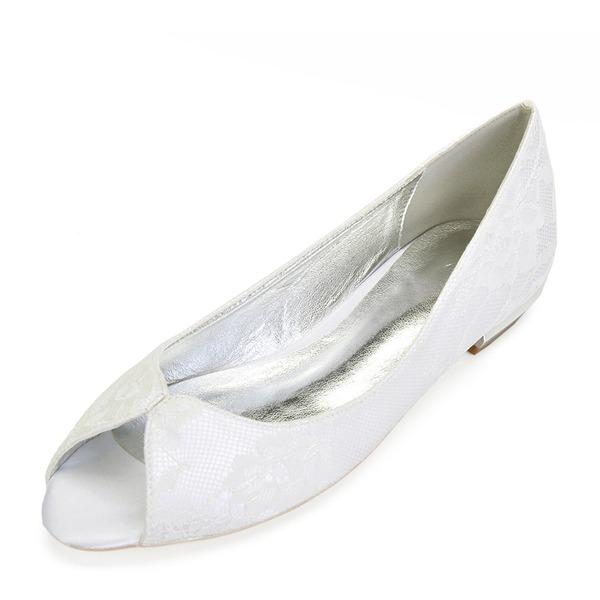 Femmes Similicuir Talon plat Chaussures plates avec Couture dentelle Cristal