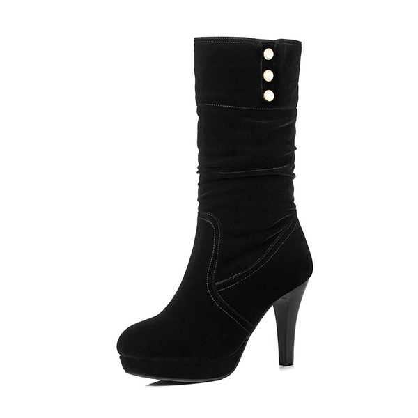 Women's Suede Stiletto Heel Pumps Platform Boots Knee High Boots With Imitation Pearl shoes