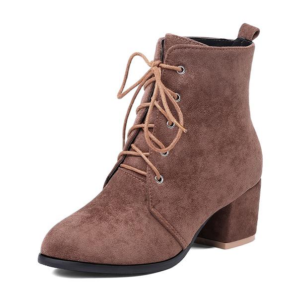 De mujer Cuero Tacón ancho Salón Botas Botas al tobillo con Cordones zapatos