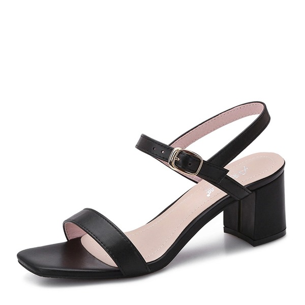 Women's Microfiber Leather Chunky Heel Sandals Pumps Peep Toe shoes