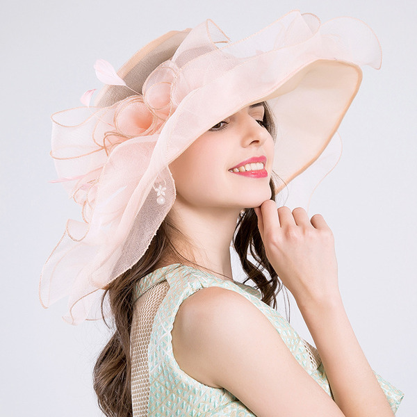 Ladies ' Smuk/Charmen Netto garn med Blomst Strand / Sun Hatte/Kentucky Derby Hatte/Tea Party Hats