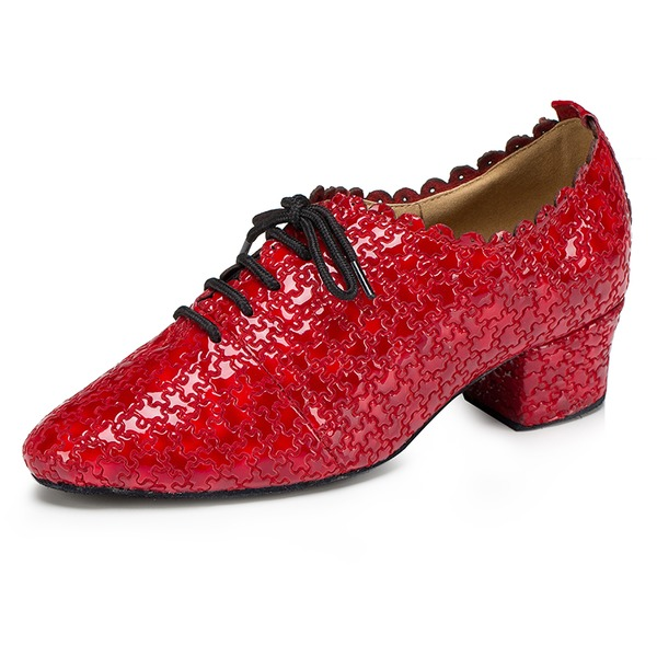 Women's Real Leather Flats Swing Practice With Lace-up Dance Shoes