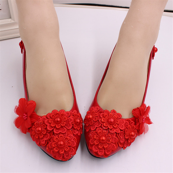 Women's Leatherette Low Heel Closed Toe Pumps With Applique