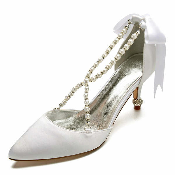 Women's Satin Spool Heel Closed Toe Flats Sandals With Crystal