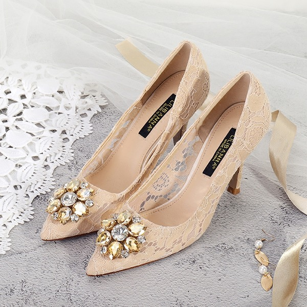 Women's Lace Stiletto Heel Closed Toe Pumps With Crystal