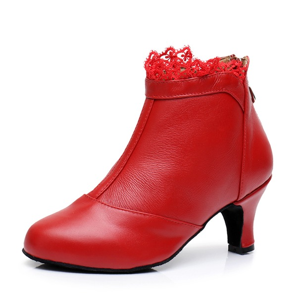 Women's Real Leather Heels Dance Boots Dance Shoes