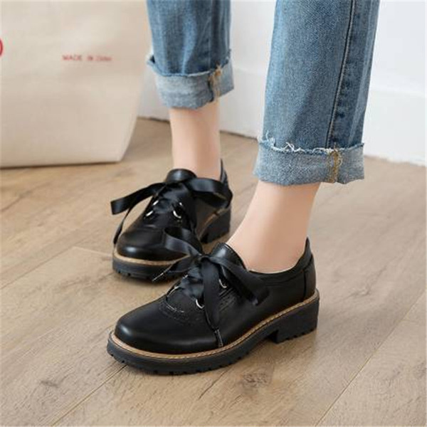 Women's PU Chunky Heel Flats With Lace-up shoes