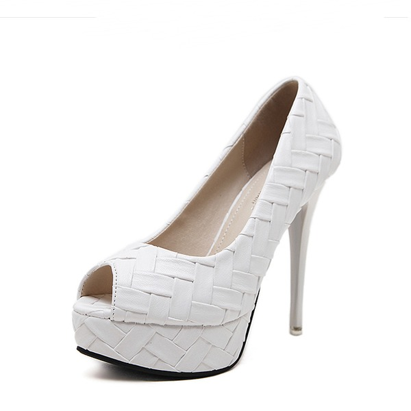 Women's PU Stiletto Heel Pumps Platform Peep Toe With Others shoes