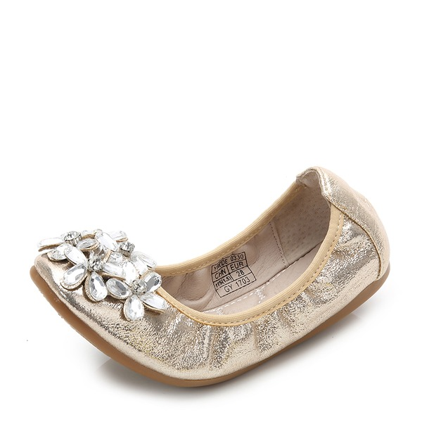 Jentas Lukket Tå Leather flat Heel Flate sko Flower Girl Shoes med Rhinestone