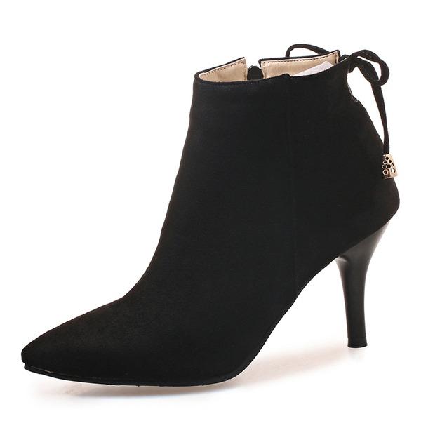 Donna Camoscio Tacco a spillo Stiletto Punta chiusa Stivali Stivali alla caviglia con Bowknot Cerniera scarpe