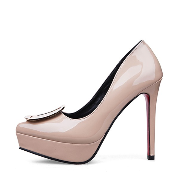 Vrouwen Patent Leather Stiletto Heel Closed Toe Plateau Pumps met Gesp Anderen