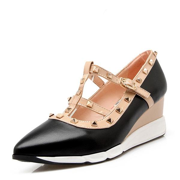 Frauen PVC Keil Absatz Keile mit Niete Schuhe