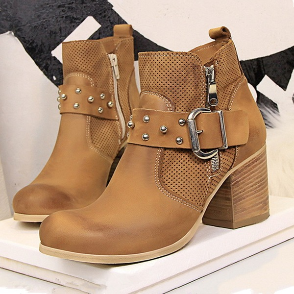 Women's Leatherette Chunky Heel Pumps Closed Toe Boots Martin Boots With Rivet Buckle shoes