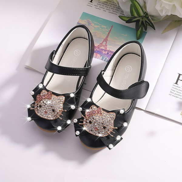 Girl's Mary Jane Microfiber Leather Flower Girl Shoes With Beading Velcro