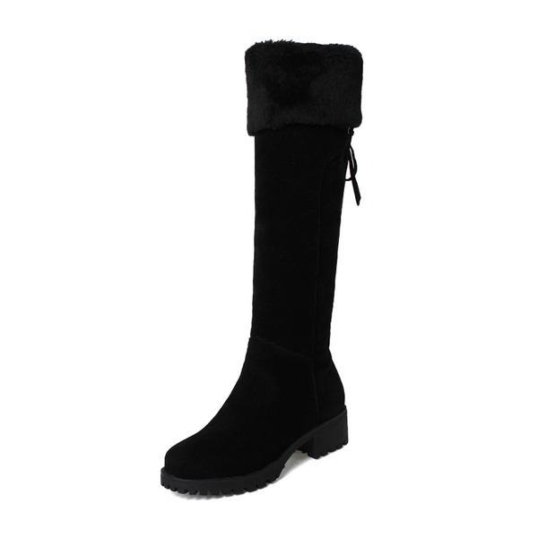 Frauen Veloursleder Niederiger Absatz Stiefel mit Zuschnüren Schuhe