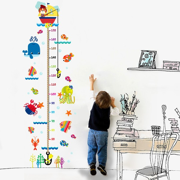 DIY cartoon kitten fishing decal wallpaper height sticker (Sold in a single piece)