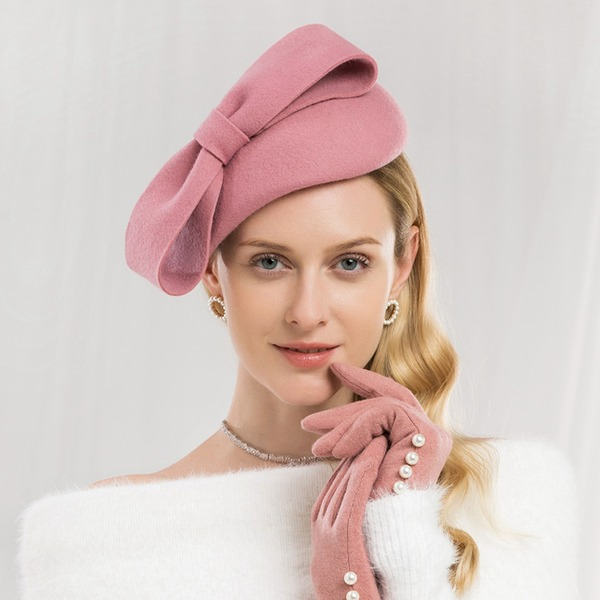 Ladies' Special/Glamourous/Simple/Exquisite/High Quality/Romantic/Vintage/Artistic Wool With Bowknot Beret Hat