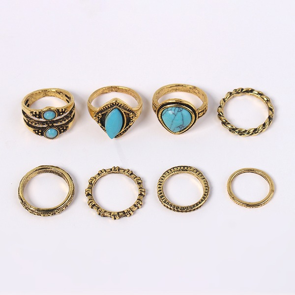 Fashional Alloy Rhinestones With Rhinestone Women's Fashion Rings (Set of 8)