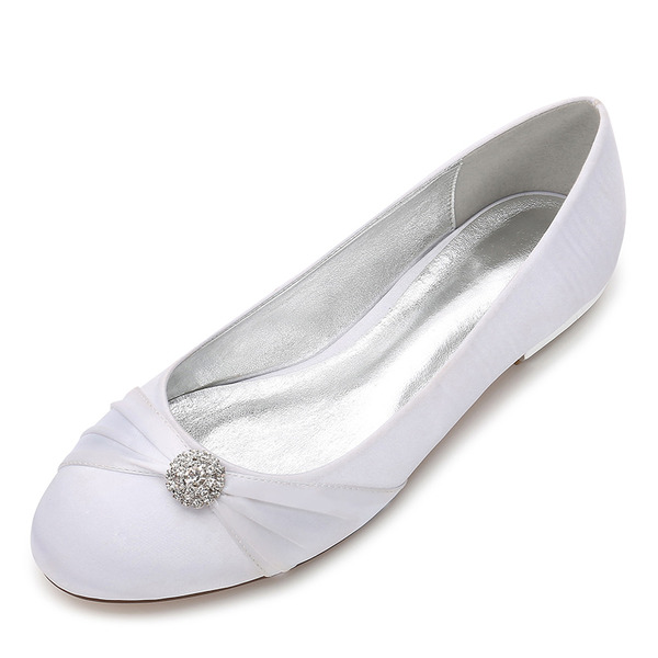 Women's Silk Like Satin Flat Heel Closed Toe Flats With Ribbon Tie Crystal
