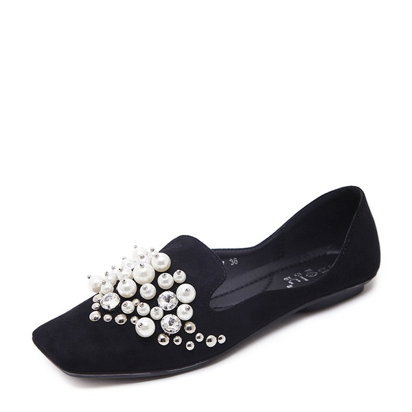 Women's Suede Flat Heel Flats Closed Toe With Imitation Pearl shoes