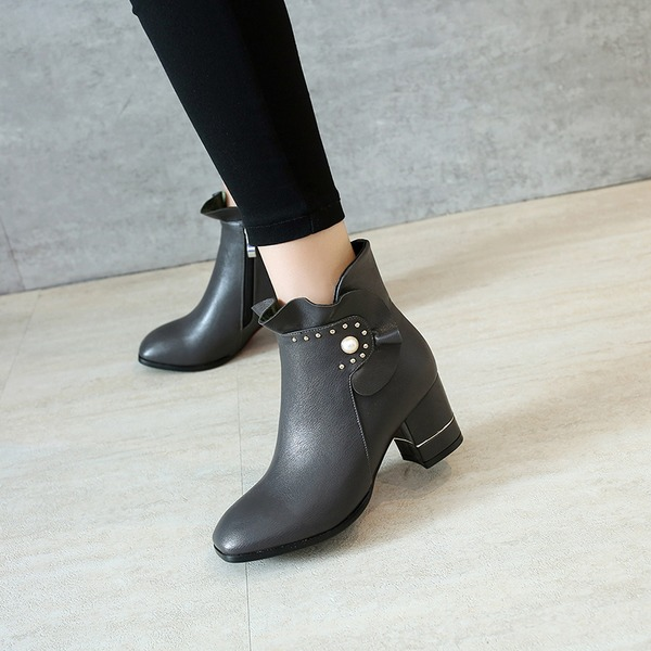Women's Leatherette Chunky Heel Pumps Boots Ankle Boots With Pearl shoes