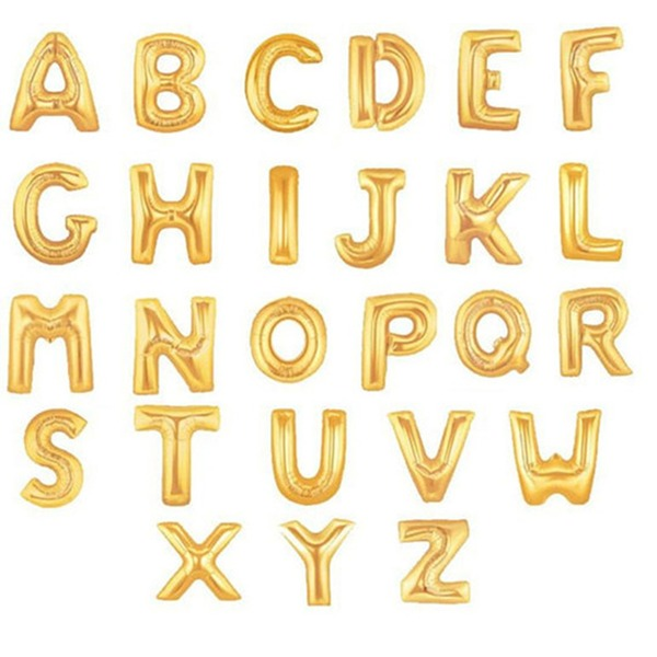 """16"""" Gold Letter alphabet Balloons A-Z (Sold in a single piece)"""