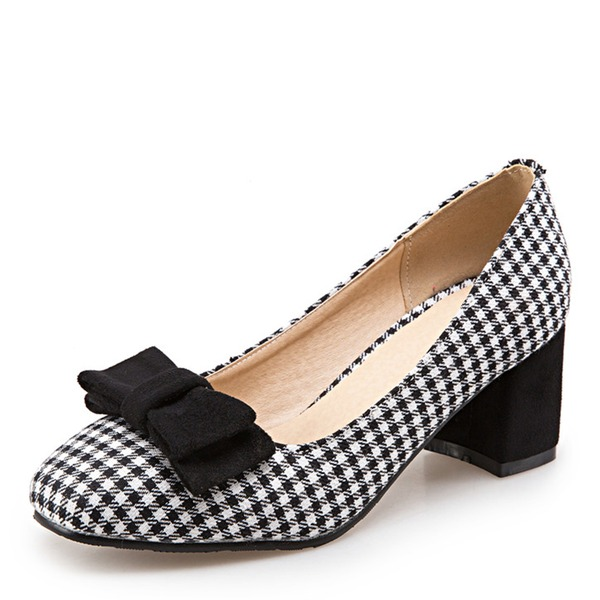 Women's Fabric Chunky Heel Pumps With Bowknot shoes
