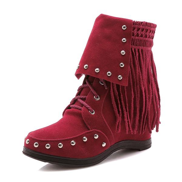 Kvinner Semsket Flat Hæl Støvler Mid Leggen Støvler med Tassel sko