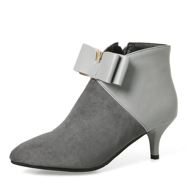 Donna Camoscio Tacco a spillo Stiletto Punta chiusa Stivali Stivali altezza media con Bowknot Cerniera scarpe