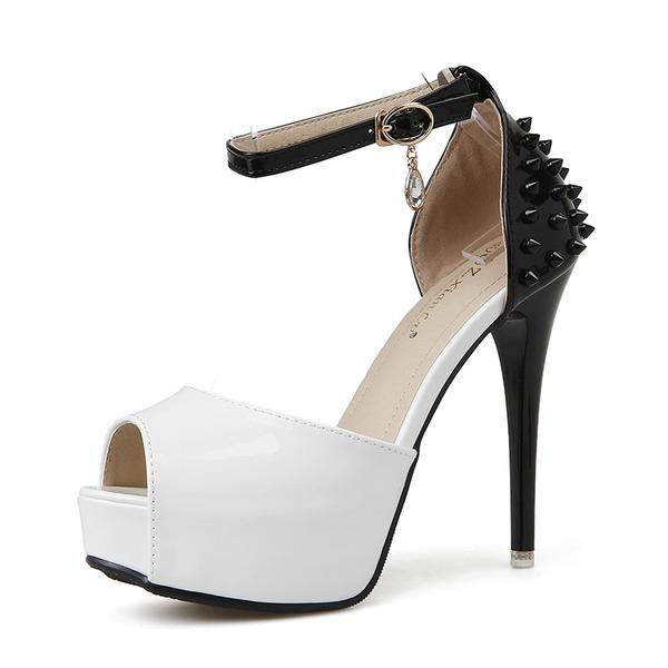 Frauen PU Stöckel Absatz Sandalen Absatzschuhe Plateauschuh Peep Toe mit Niete Schnalle Schuhe