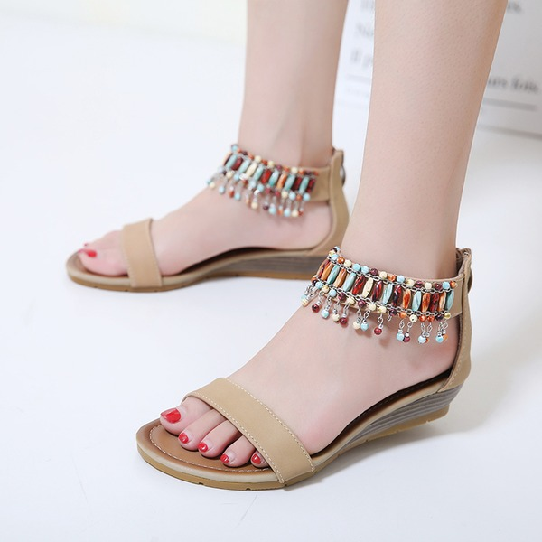 Women's PU Wedge Heel Sandals Wedges Peep Toe With Beading shoes
