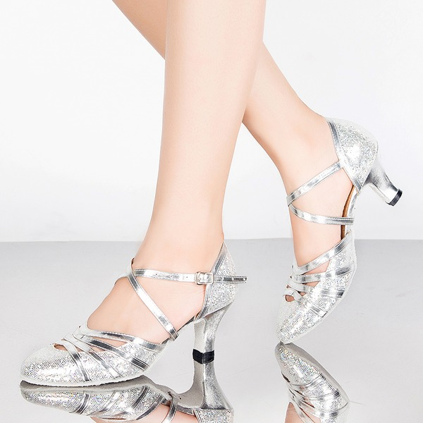 Women's Sparkling Glitter Heels Sandals Ballroom With Buckle Hollow-out Dance Shoes