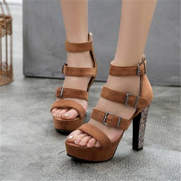 Women's Velvet Chunky Heel Sandals Pumps Platform With Buckle shoes