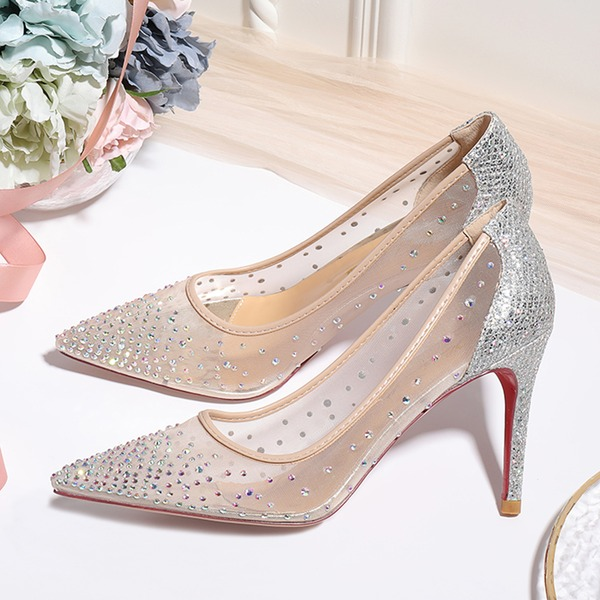 Women's Mesh Stiletto Heel Closed Toe Pumps With Crystal