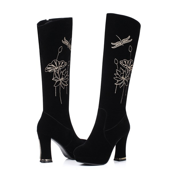 Women's Suede Chunky Heel Pumps Knee High Boots With Animal Print shoes