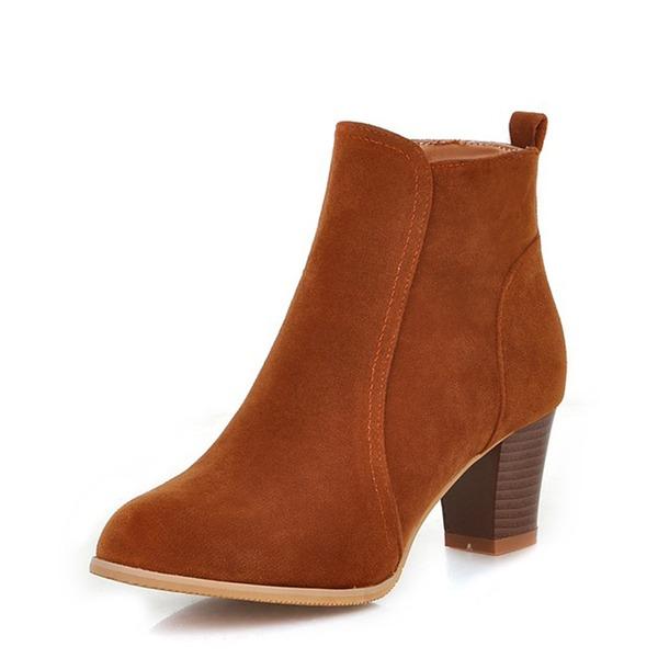 Vrouwen Suede Chunky Heel Pumps Laarzen Enkel Laarzen met Rits schoenen