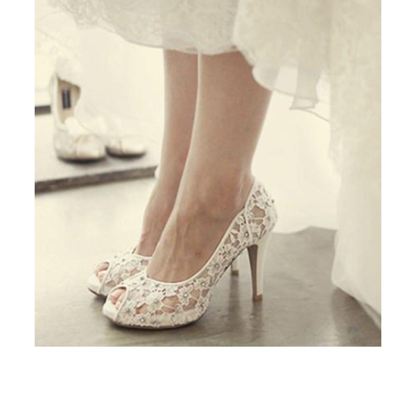 Kvinnor Spets Stilettklack Peep Toe Plattform Beach Wedding Shoes med Strass